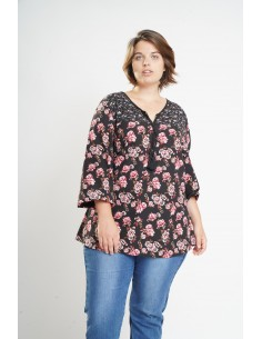Blouse fleurie manches 3/4